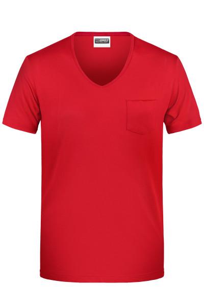 Herren V-T-Shirt mit Brusttasche