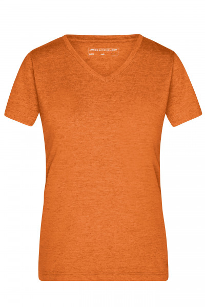 Damen Melange V-Shirt