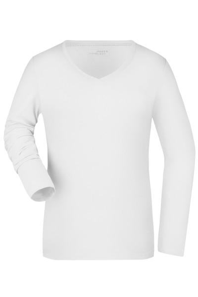 Damen Elastic Langarm V-Shirt